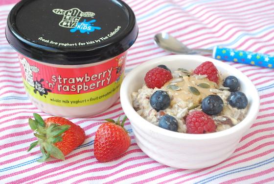 strawberry and raspberry yoghurt bircher muesli