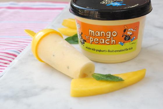 Mango and peach frozen yoghurt lollies