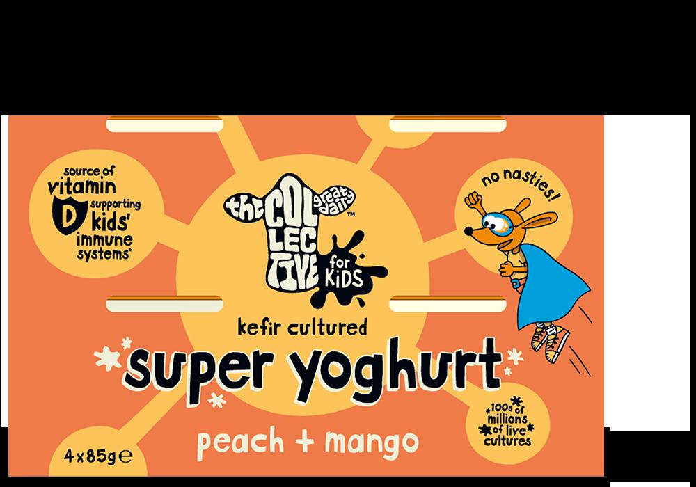 peach + mango super yoghurt 4x85g